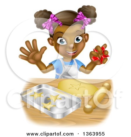 Clipart of a Cartoon Happy Black Girl Holding a Cutter and Making Star Cookies - Royalty Free Vector Illustration by AtStockIllustration