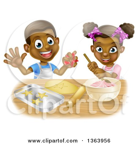 Clipart of a Cartoon Happy Black Girl and Boy Making Frosting and Making Star Cookies - Royalty Free Vector Illustration by AtStockIllustration