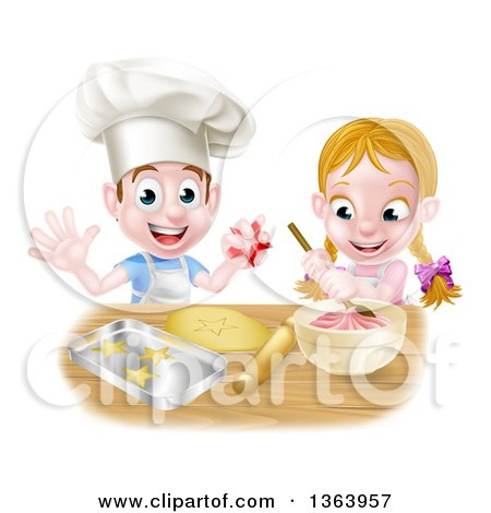 Clipart of a Cartoon Happy White Girl and Boy Making Frosting and Star Cookies - Royalty Free Vector Illustration by AtStockIllustration