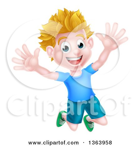 Clipart of a Cartoon Happy Excited White Boy Jumping - Royalty Free Vector Illustration by AtStockIllustration