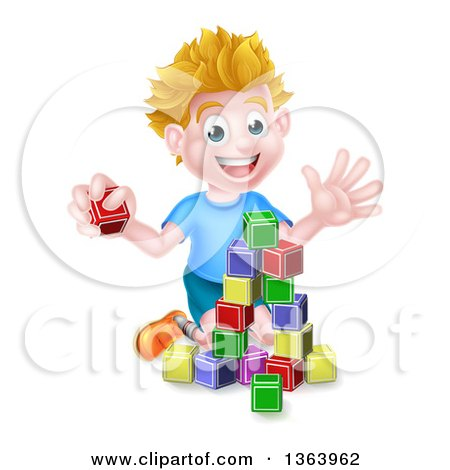 Clipart of a Cartoon Happy White Boy Playing with Toy Blocks - Royalty Free Vector Illustration by AtStockIllustration