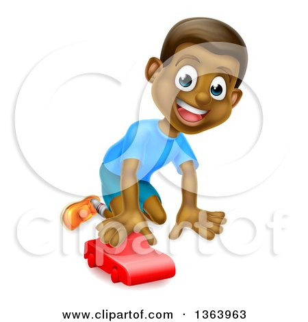 Clipart of a Cartoon Happy Black Boy Playing with a Toy Car - Royalty Free Vector Illustration by AtStockIllustration
