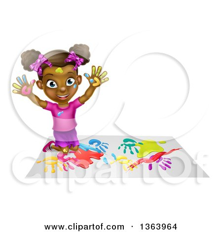 Clipart of a Cartoon Happy Black Girl Making Hand Prints with Paint, Kneeling and Holding up Her Hands - Royalty Free Vector Illustration by AtStockIllustration