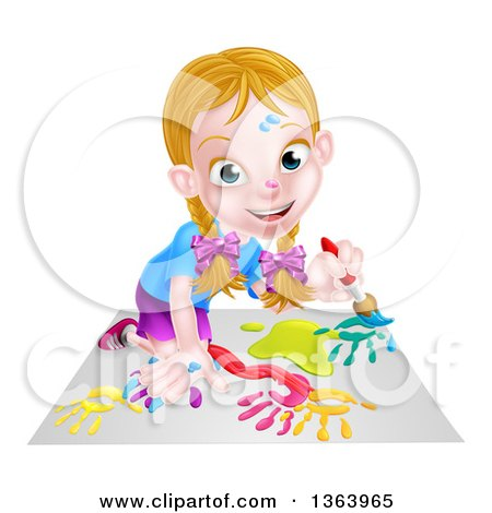 Clipart of a Cartoon Happy White Girl Kneeling and Painting Artwork - Royalty Free Vector Illustration by AtStockIllustration