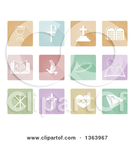 Clipart of White Christian Icons on Colorful Pastel Square Tiles - Royalty Free Vector Illustration by AtStockIllustration