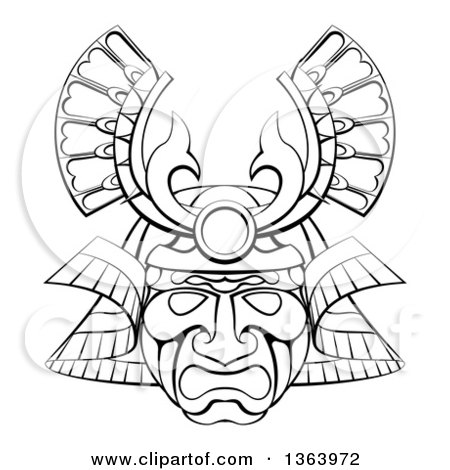 Clipart of a Black and White Lineart Asian Samurai Mask - Royalty Free Vector Illustration by AtStockIllustration