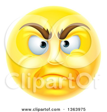 Clipart of a 3d Disapproving Yellow Male Smiley Emoji Emoticon Face - Royalty Free Vector Illustration by AtStockIllustration