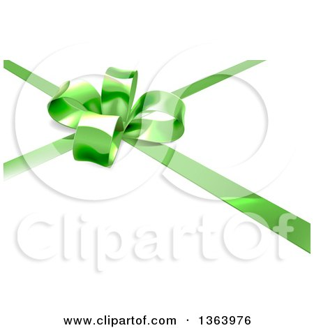Clipart of a 3d Green Christmas, Birthday or Other Holiday Gift Bow and Ribbon on White - Royalty Free Vector Illustration by AtStockIllustration