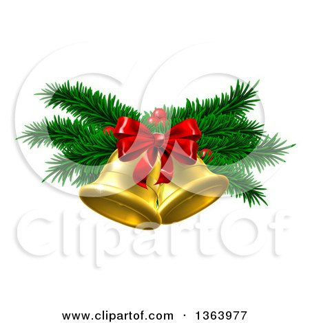 Clipart of 3d Gold Christmas Bells with Branches and Bow - Royalty Free Vector Illustration by AtStockIllustration