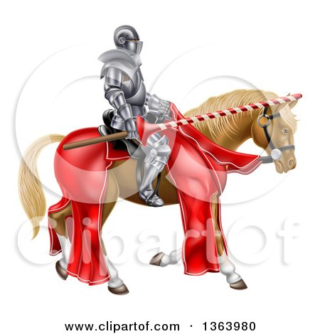 Clipart of a 3d Fully Armored Jousting Knight Holding a Lance on a Brown Horse - Royalty Free Vector Illustration by AtStockIllustration