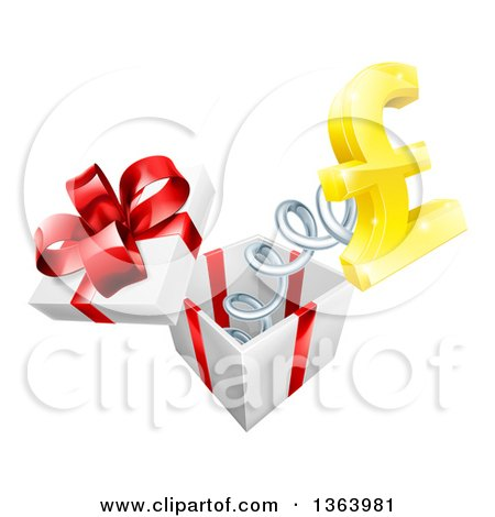 Clipart of a 3d Golden Pound Currency Symbol Popping out of a Gift Box - Royalty Free Vector Illustration by AtStockIllustration