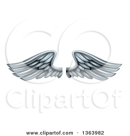 Clipart of a Pair of 3d Silver Metal Wings - Royalty Free Vector Illustration by AtStockIllustration
