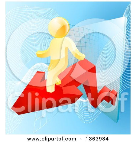 Clipart of a 3d Successful Gold Man Walking on a Red Arrow over Graphs on Blue - Royalty Free Vector Illustration by AtStockIllustration