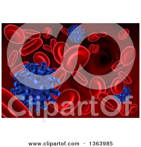 Clipart of a Background of 3d Blue Viruses Attacking Red Blood Cells - Royalty Free Vector Illustration by AtStockIllustration