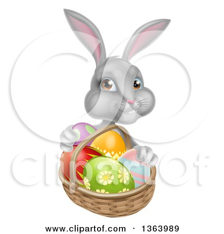 Clipart of a Happy Gray Bunny with Easter Eggs and a Basket - Royalty Free Vector Illustration by AtStockIllustration