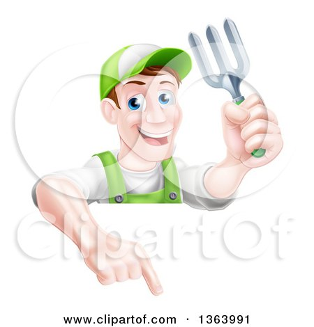 Clipart of a Middle Aged Brunette White Male Gardener in Green, Holding a Garden Fork and Pointing down over a Sign - Royalty Free Vector Illustration by AtStockIllustration