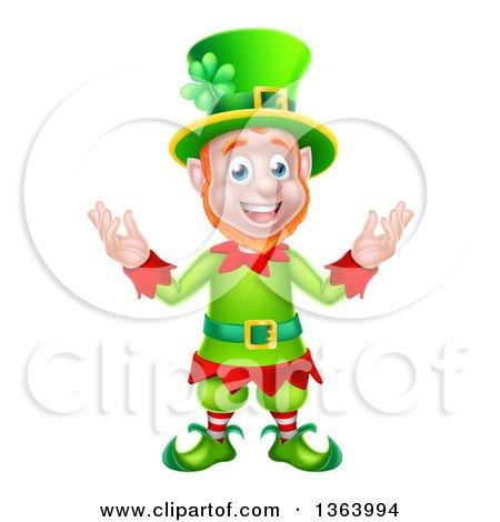 Clipart of a Cartoon Friendly St Patricks Day Leprechaun Welcoming - Royalty Free Vector Illustration by AtStockIllustration