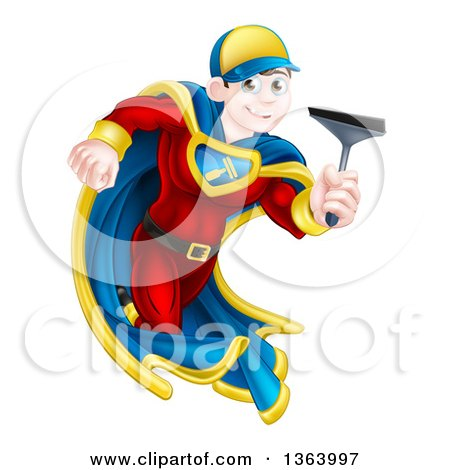 Clipart of a Young Super Hero Brunette White Male Window Cleaner Running with a Squeegee - Royalty Free Vector Illustration by AtStockIllustration