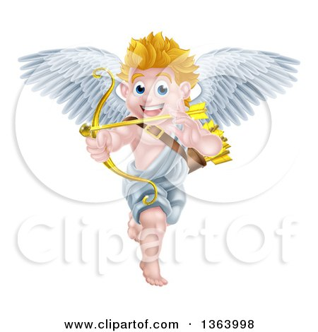 Clipart of a Happy Blond Caucasian Valentines Day Cupid Aiming an Arrow - Royalty Free Vector Illustration by AtStockIllustration