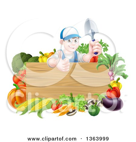 Clipart of a Young Brunette White Male Gardener in Blue, Holding up a Garden Spade and Giving a Thumb up over a Blank Wood Sign with Produce - Royalty Free Vector Illustration by AtStockIllustration