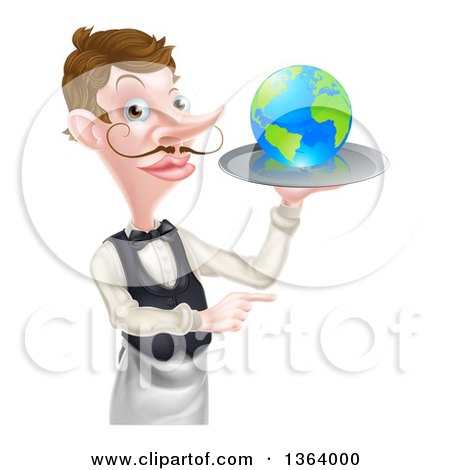 Clipart of a Cartoon Caucasian Male Waiter with a Curling Mustache, Holding Earth on a Tray and Pointing - Royalty Free Vector Illustration by AtStockIllustration