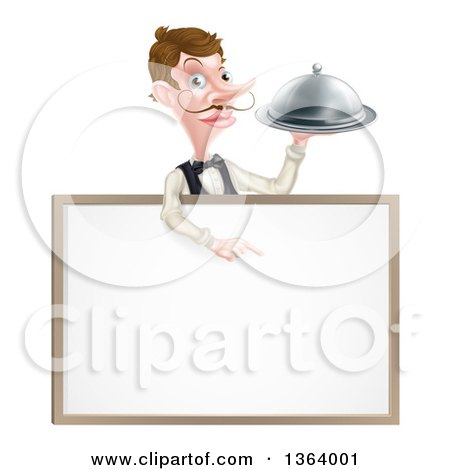 Clipart of a Cartoon Caucasian Male Waiter with a Curling Mustache, Holding a Cloche Platter over a Blank White Menu Sign - Royalty Free Vector Illustration by AtStockIllustration