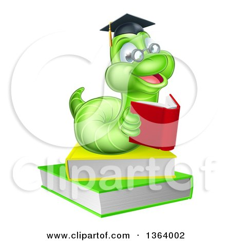 Clipart of a Happy Bespectacled Green Professor or Graduate Earthworm Reading on Books - Royalty Free Vector Illustration by AtStockIllustration