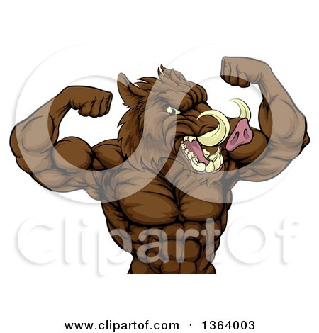 Clipart of a Tough Razorback Boar Man Flexing His Bicep Muscles, from the Waist up - Royalty Free Vector Illustration by AtStockIllustration