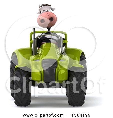 Clipart of a 3d Cow Farmer Operating a Green Tractor, on a White Background - Royalty Free Illustration by Julos