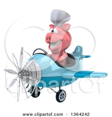 Clipart of a 3d Chef Pig Flying a Blue Airplane, on a White Background - Royalty Free Illustration by Julos