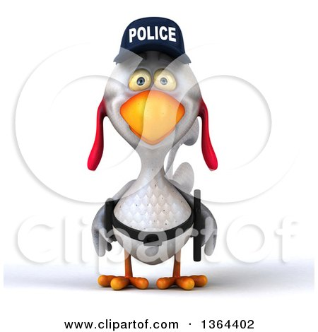 Clipart of a 3d White Police Chicken, on a White Background - Royalty Free Illustration by Julos