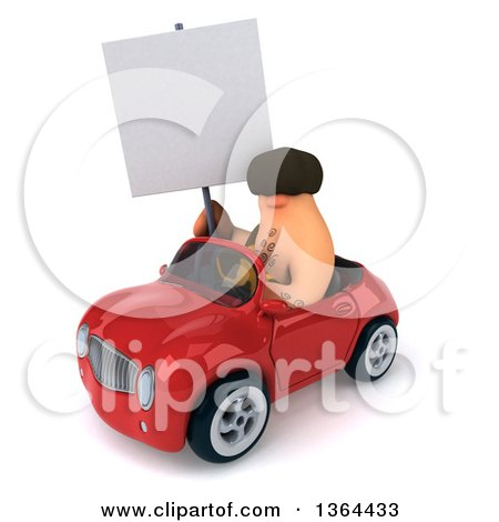 Clipart of a 3d Caveman Holding a Blank Sign and Driving a Red Convertible Car, on a White Background - Royalty Free Illustration by Julos