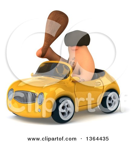 Clipart of a 3d Caveman Holding a Club and Driving a Yellow Convertible Car, on a White Background - Royalty Free Illustration by Julos