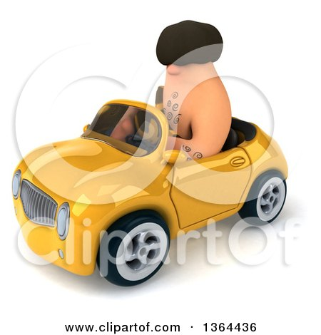Clipart of a 3d Caveman Driving a Yellow Convertible Car, on a White Background - Royalty Free Illustration by Julos