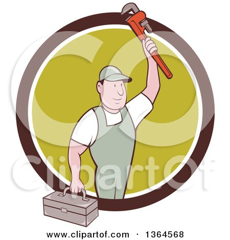 Clipart of a Retro Cartoon White Male Plumber Holding up a Monkey Wrench and Tool Box in a Brown White and Green Circle - Royalty Free Vector Illustration by patrimonio
