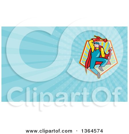 Clipart of a cartoon super plumber jumping with a monkey wrench and clipart of a cartoon super plumber jumping with a monkey wrench and plunger and blue rays background or business card design royalty free illustration by reheart Images