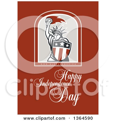 Clipart of a Statue of Liberty in a Shield over God Bless America, Happy Independence Day Text on Brown - Royalty Free Illustration by patrimonio