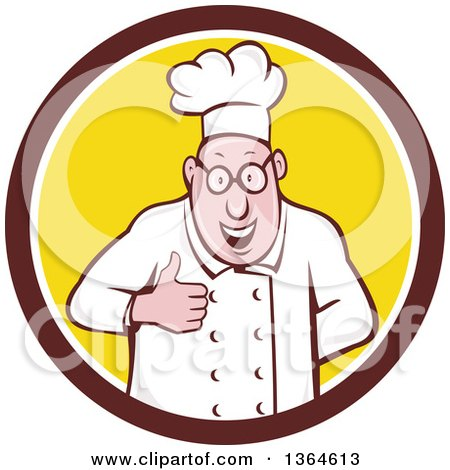 Clipart of a Cartoon Happy Chubby White Male Chef Giving a Thumb up in a Brown White and Yellow Circle - Royalty Free Vector Illustration by patrimonio