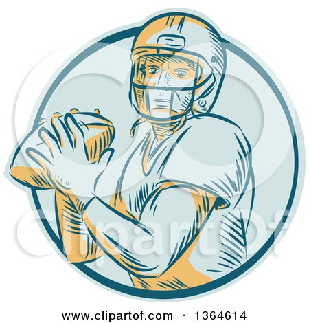 Clipart of a Retro Engraved Male Quarterback American Football Player Throwing in a Blue Circle - Royalty Free Vector Illustration by patrimonio