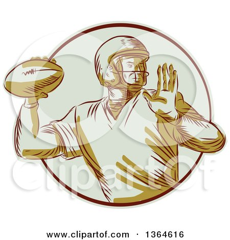 Clipart of a Retro Engraved Male Quarterback American Football Player Throwing in a Circle - Royalty Free Vector Illustration by patrimonio