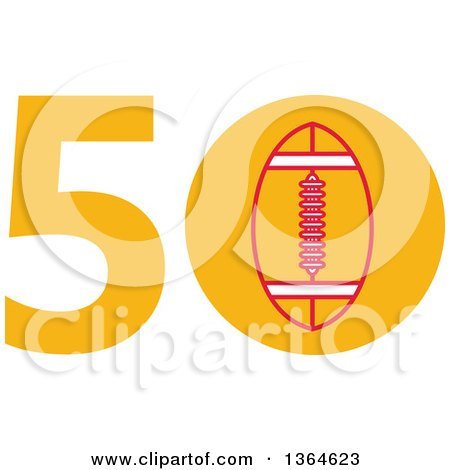 Clipart of a Super Bowl 50 Sports Design with a Football in the Zero - Royalty Free Vector Illustration by patrimonio