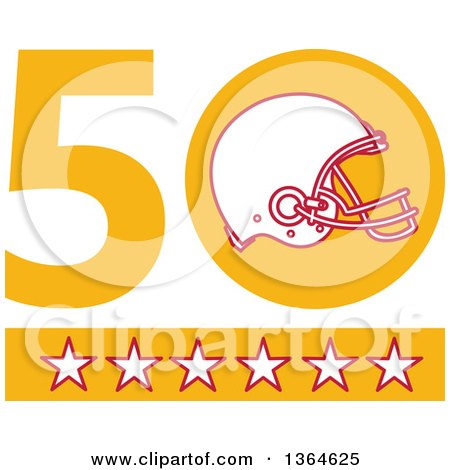 Clipart of a Super Bowl 50 Sports Design with a Football Helmet over Stars - Royalty Free Vector Illustration by patrimonio