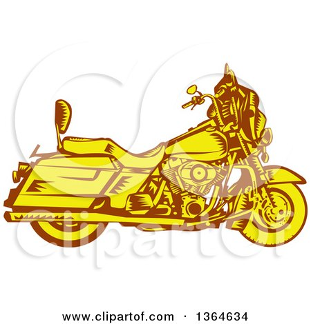 Clipart of a Retro Woodcut Yellow and Brown Motorcycle - Royalty Free Vector Illustration by patrimonio