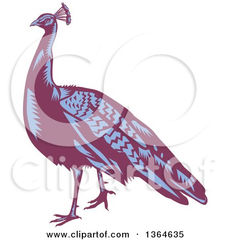 Clipart of a Retro Woodcut Purple and Blue Peacock Bird - Royalty Free Vector Illustration by patrimonio