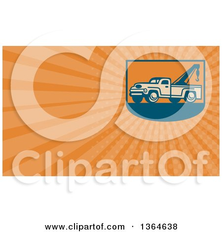 Clipart of a Retro Tow Truck and Orange Rays Background or Business Card Design - Royalty Free Illustration by patrimonio