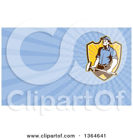 Clipart of a Retro Worker Man Holding a Sledgehammer over a Shield and Blue Rays Background or Business Card Design - Royalty Free Illustration by patrimonio
