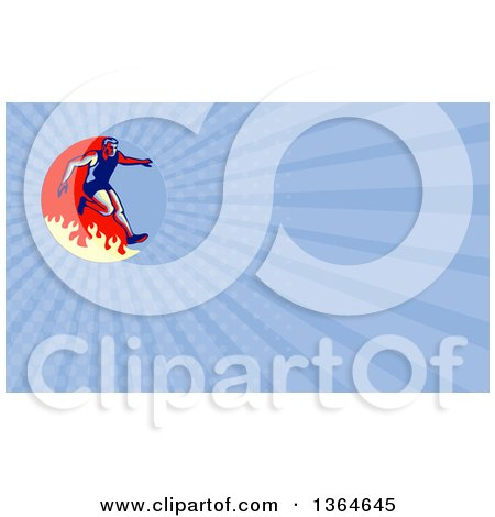 Clipart of a Retro Man Jumping over a Fire in an Obstacle Race and Blue Rays Background or Business Card Design - Royalty Free Illustration by patrimonio