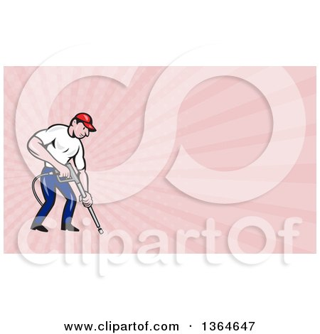 Clipart of a Cartoon White Male Pressure Washer Worker Pointing a Nozzle and Pink Rays Background or Business Card Design - Royalty Free Illustration by patrimonio