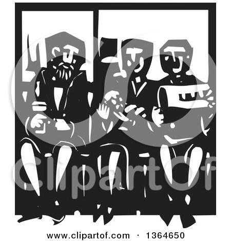 Clipart of a Black and White Woodcut Woman Holding a Baby and Sitting Between Men on a Subway - Royalty Free Vector Illustration by xunantunich