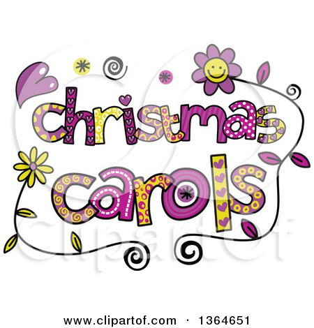 Clipart of Colorful Sketched Christmas Carols Word Art - Royalty Free Vector Illustration by Prawny